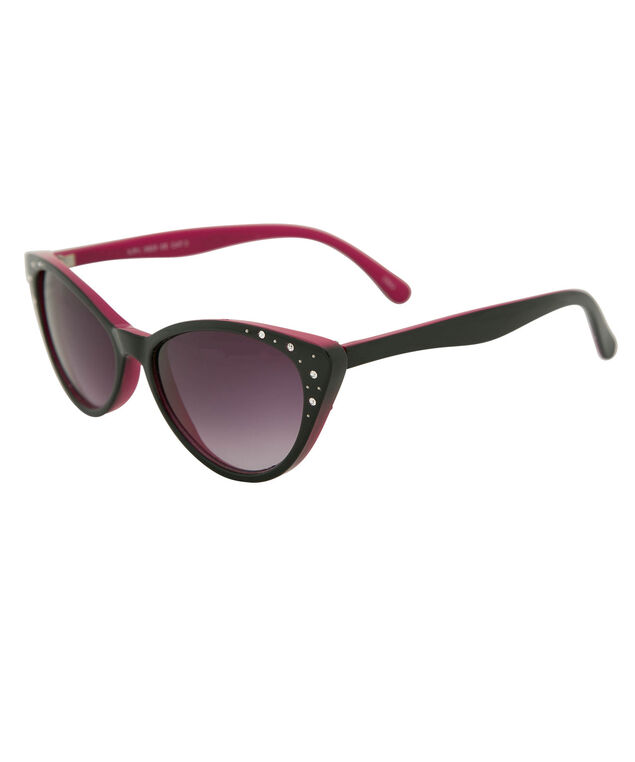Rhinestone Detail Cateye Sunglasses, Black/Red, hi-res