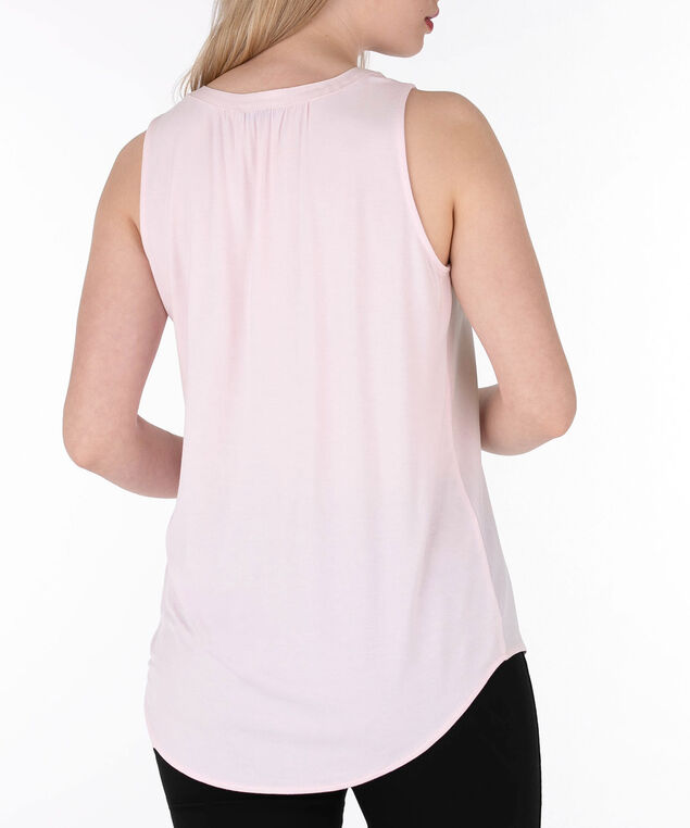 Sleeveless Henley Top, Iced Pink, hi-res