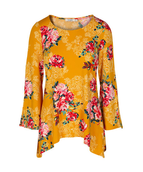 Split Bell Sleeve Top, Marigold/Poppy/White, hi-res