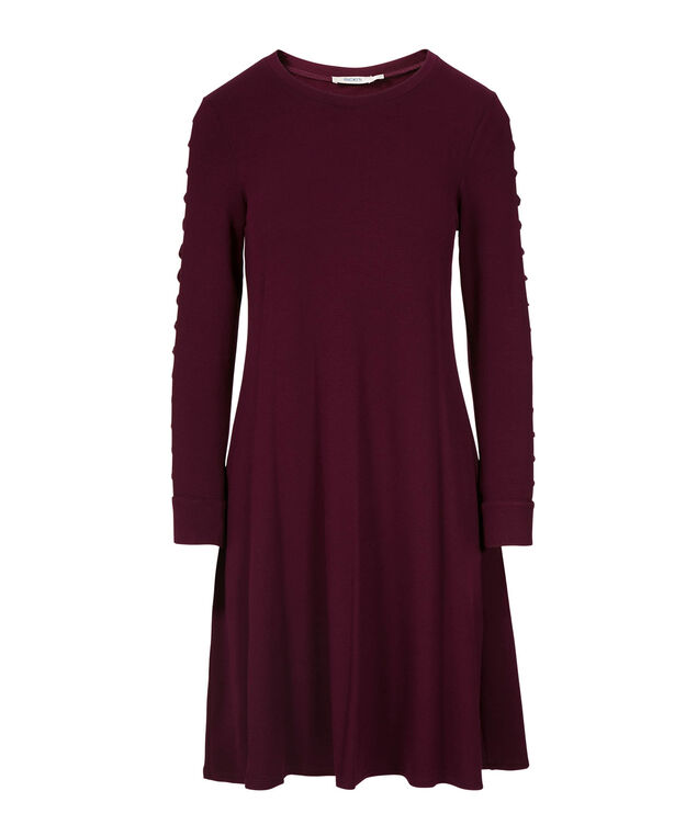 Cage Sleeve Knit Trapeze Dress, Port, hi-res