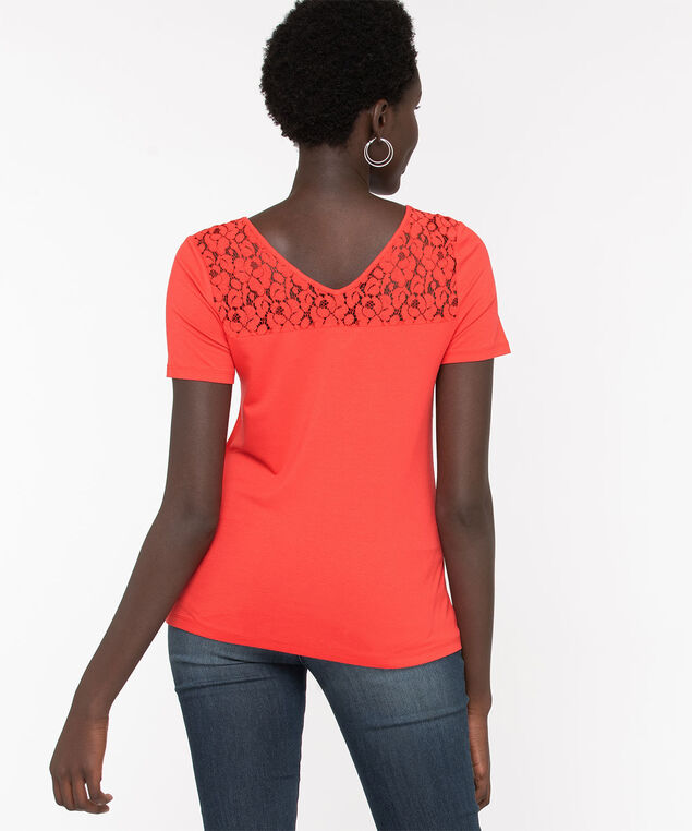 Lace Trim Double-V Tee, Chili Pepper