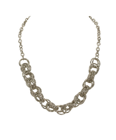 Interlocking O-Ring Statement Necklace, Rhodium, hi-res