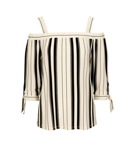 Tie Sleeve Cold Shoulder Top, Black/Pearl, hi-res