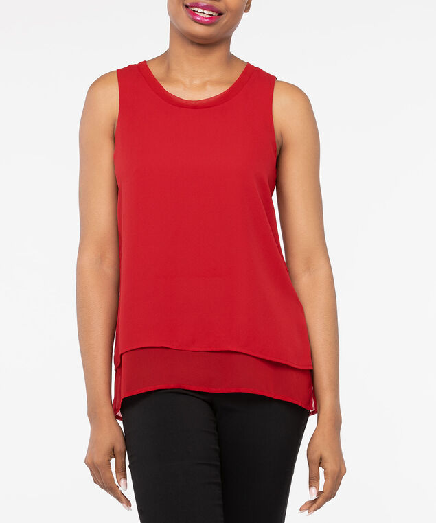 Sleeveless Layered Scoop Neck Blouse, Crimson, hi-res