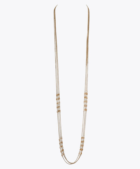 Multi-Strand Stationed Bead Necklace, Taupe/Soft Gold, hi-res