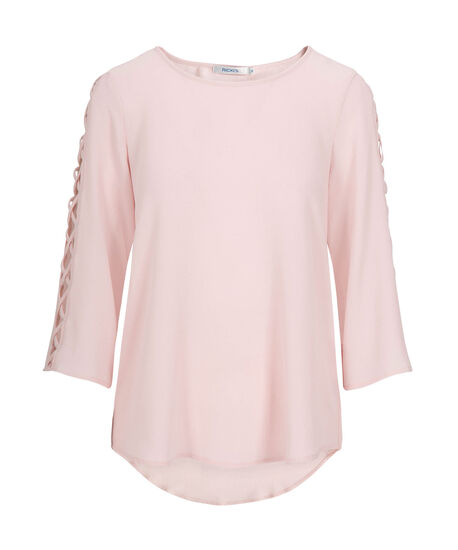 Criss-Cross Cage Sleeve Blouse, Pastel Pink, hi-res