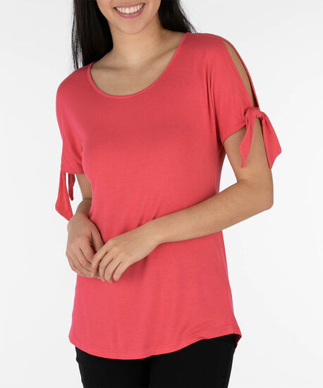 Tie-Sleeve Scoop Neck Top, Watermelon, hi-res