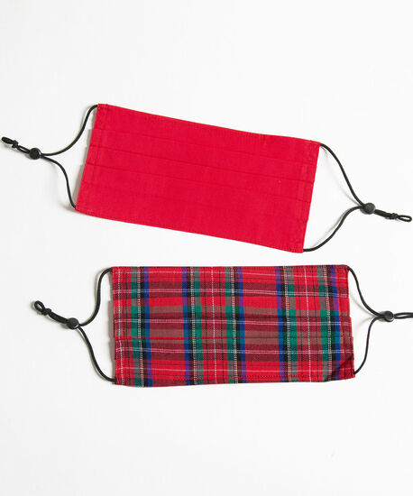 Plaid/Solid Face Mask 2-Pack, Red, hi-res