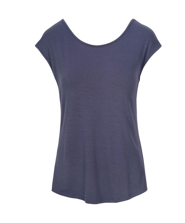 Cross Back Extended Sleeve Top, Indigo, hi-res