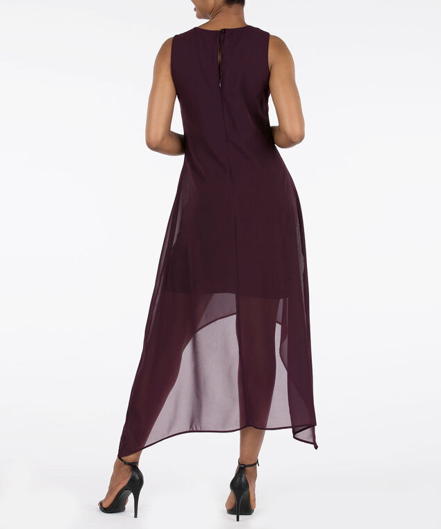 Sleeveless V-Neck High Low Dress, Plum, hi-res