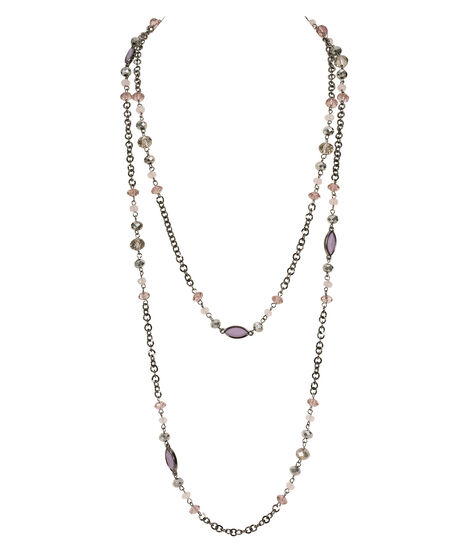 Long Stationed Bead Necklace, Iced Violet/Hematite, hi-res