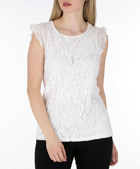 Flutter Sleeve Lace Front Top, Pearl, hi-res