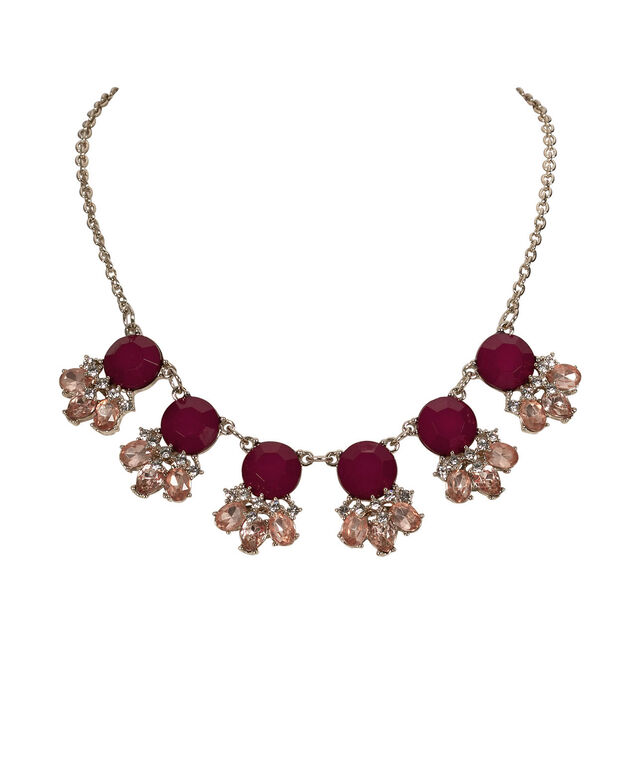 Faceted Stone Mini Statement Necklace, Ruby/Pink/Antique Gold, hi-res