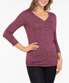 Studded Henley Knit Top, Berry Mix, hi-res