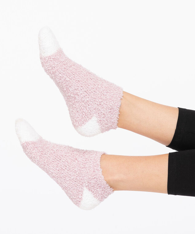 Pink Plush Ankle Socks, Pink/White