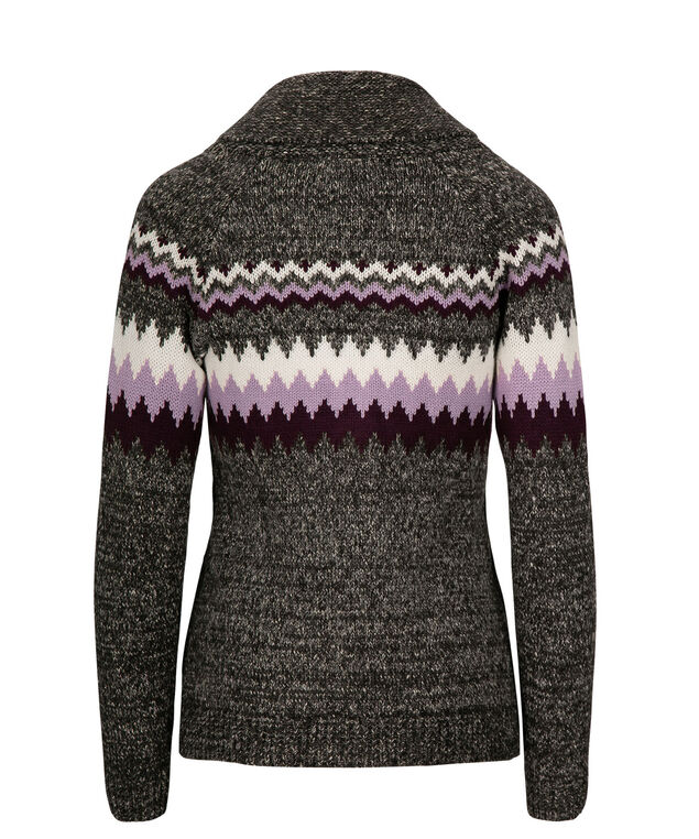 Fair Isle Zipper Front Sweater, Blackberry/Iced Violet/Grey, hi-res