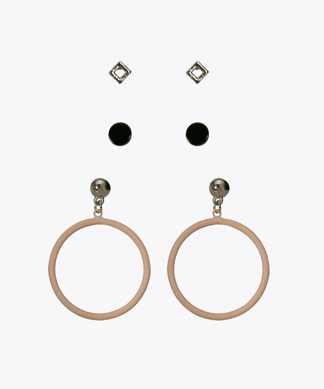 Earring Trio Set, Black/Pastel Pink, hi-res