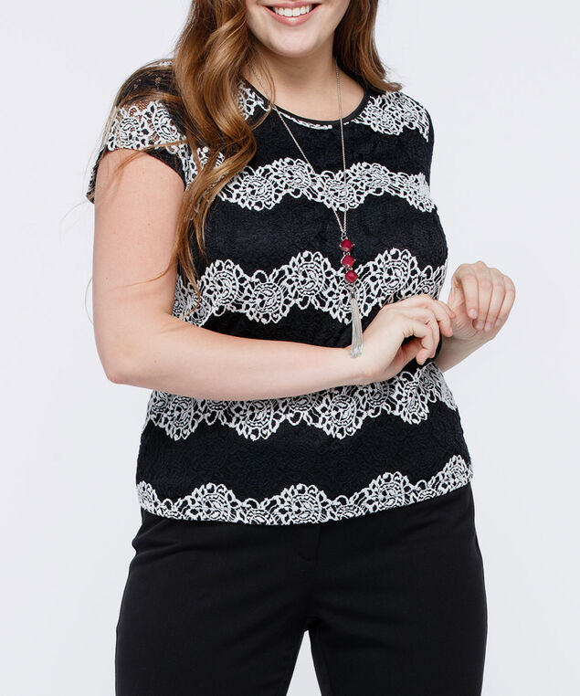 Short Sleeve Lace Overlay Top, Black/Pearl, hi-res