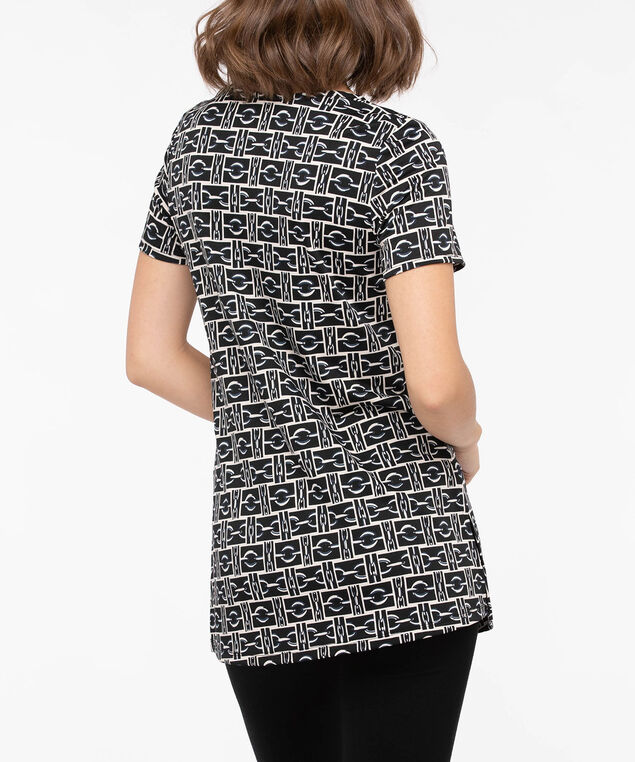 Short Sleeve Side Slit Tunic, Black/Almond/Navy, hi-res