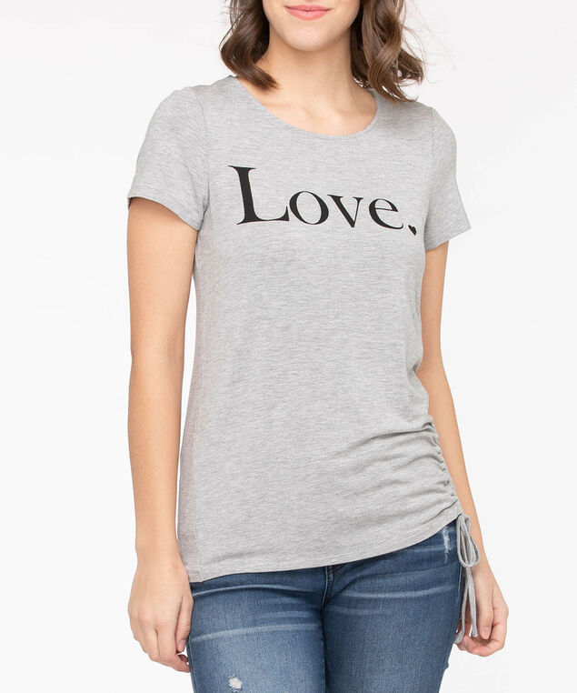 Side Ruched Short Sleeve Top, Light Heather Grey/Black, hi-res