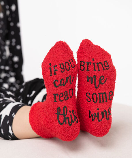 Wine Lover Plush Sock, Red, hi-res