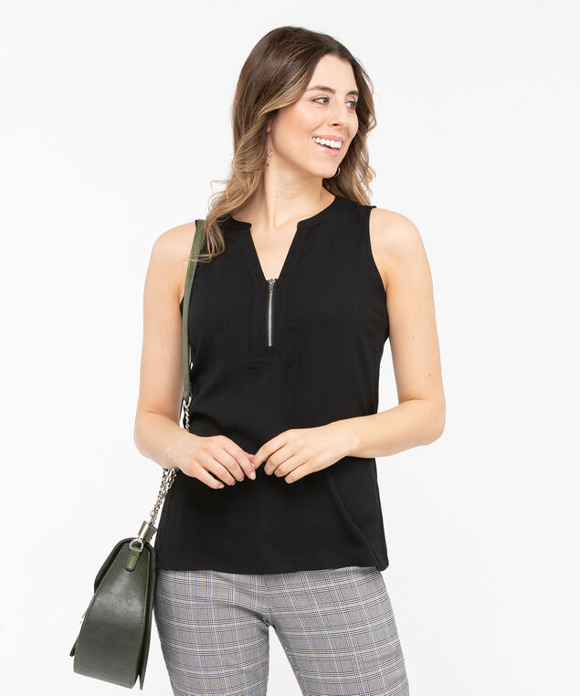 Sleeveless Zip-Front Mixed Media Top, Black, hi-res