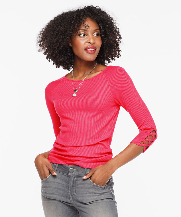 Rib Knit Criss Cross Sleeve Top, Strawberry, hi-res