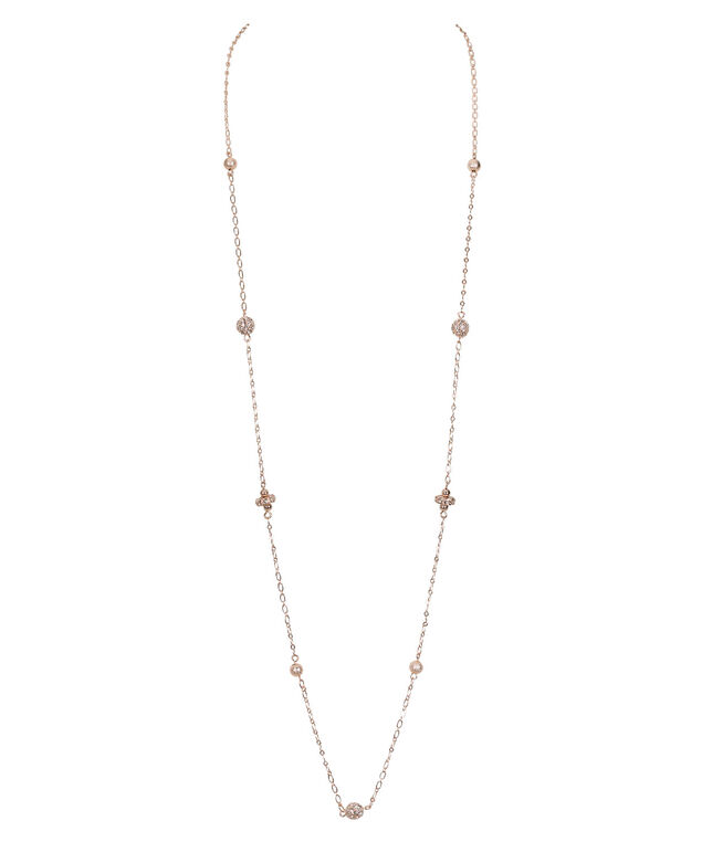 Stationed Fireball Necklace, Soft Rose Gold, hi-res