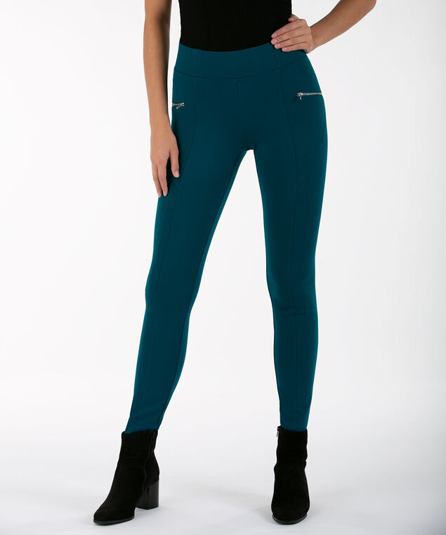 Zip Trim Luxe Ponte Legging, Bright Teal, hi-res