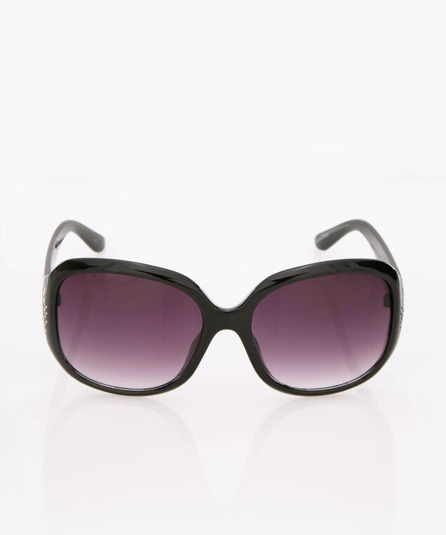 Crystal Square Sunglasses, Black, hi-res
