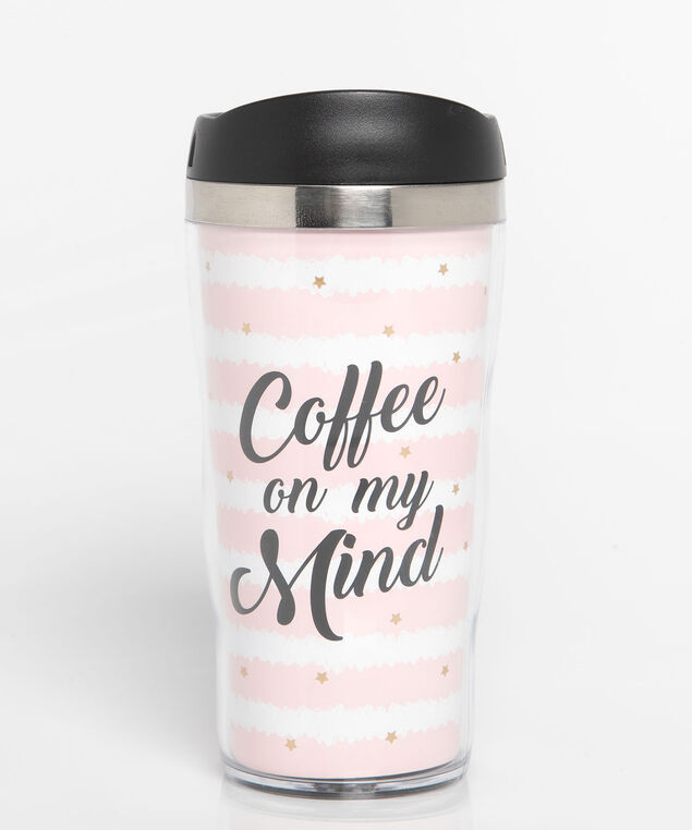 Coffee On My Mind Travel Mug, Pearl/Black/Rose Petal, hi-res