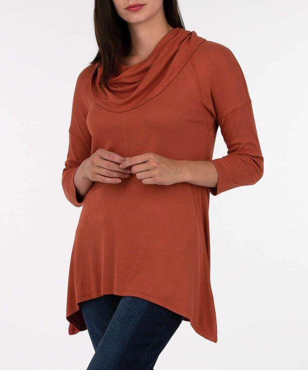 Slouchy Cowl Neck Pullover, Burnt Orange, hi-res