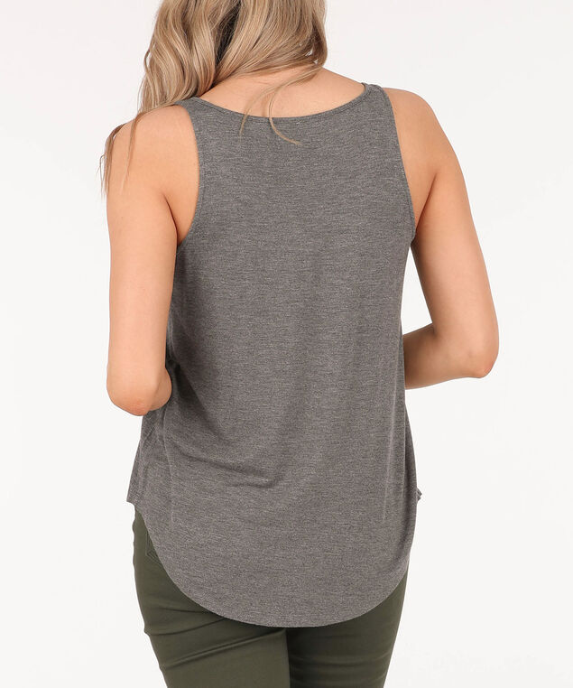 Sleeveless Button Loop Top, Grey/White/Yellow, hi-res