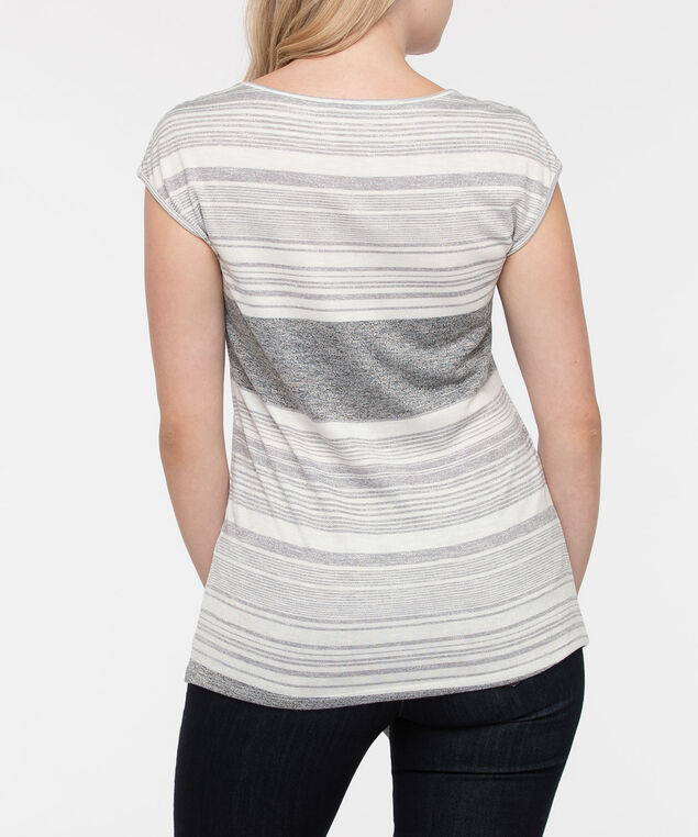 Extended Sleeve Asymetrical Hem Top, Grey/Pearl, hi-res