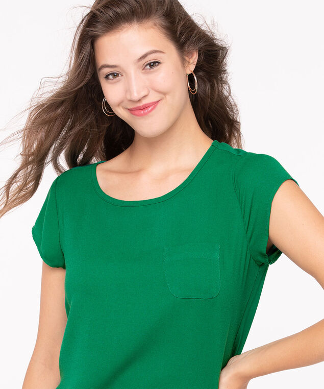 Mixed Media Pocket Front Top, Kelly Green, hi-res