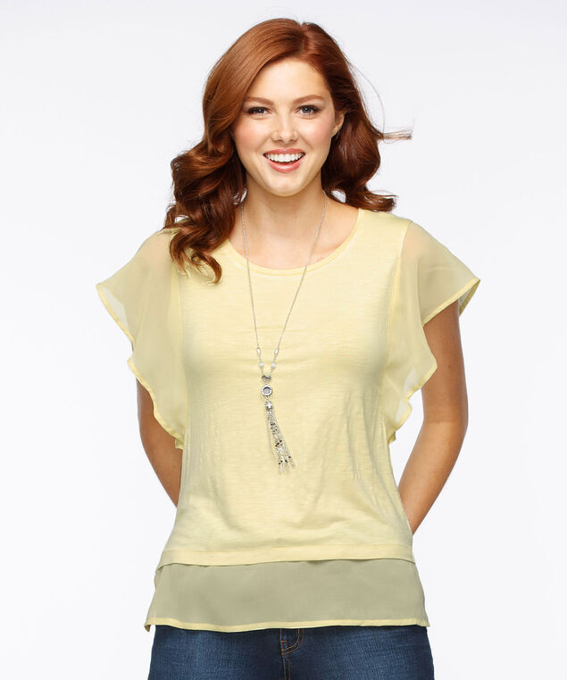 Mixed Media Flutter Sleeve Top, Soft Yellow, hi-res