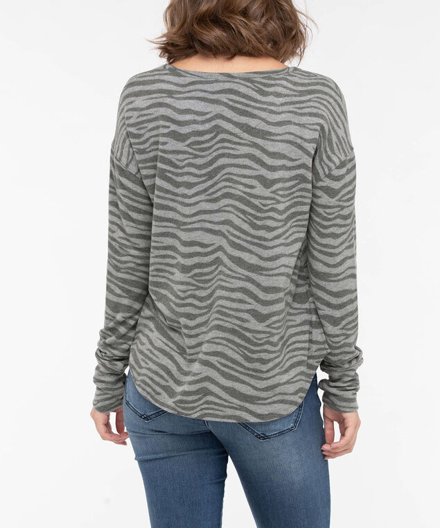 Zebra Print Thumbhole Cuff Pullover, Mid Heather Grey/Light Heather Grey, hi-res
