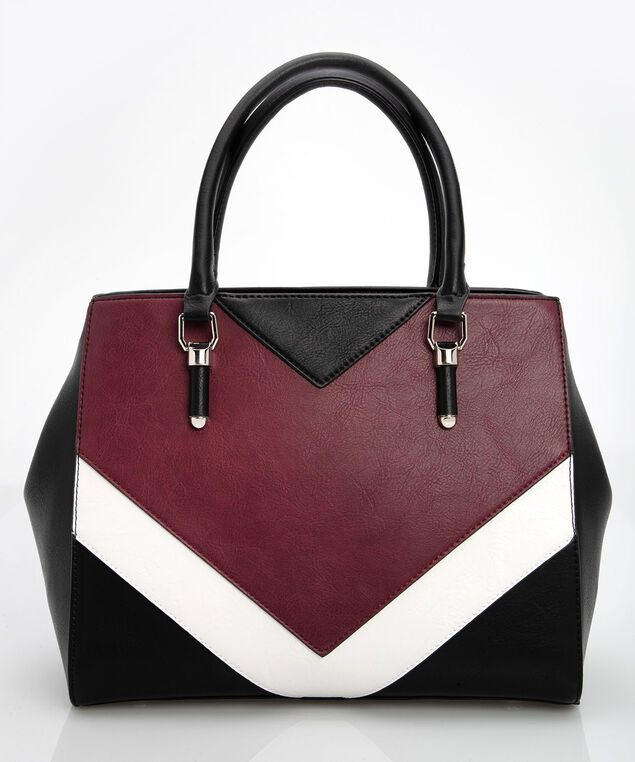 Colourblock Chevron Handbag, Black/Pearl/Burgundy, hi-res