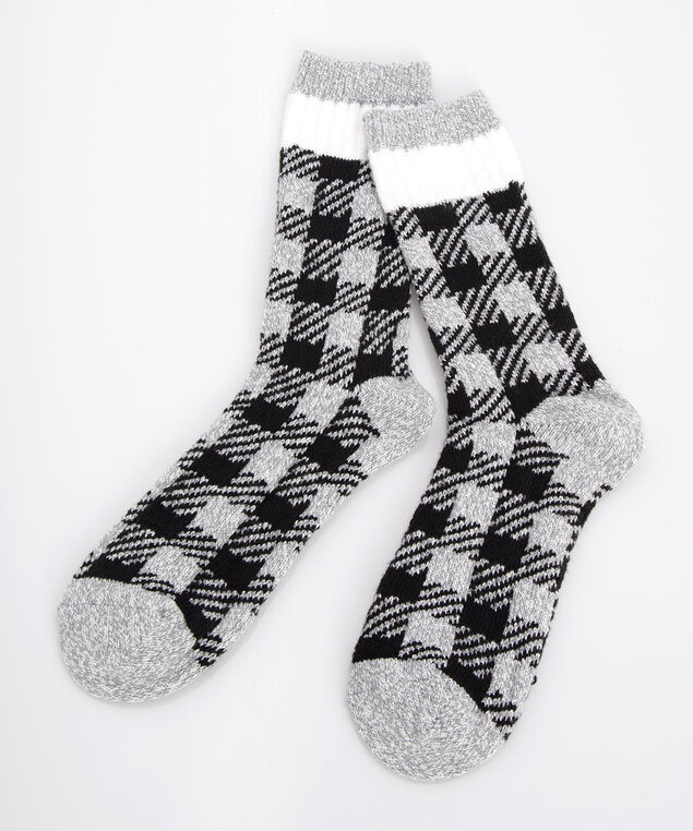 Cozy Plaid Cabin Socks, Light Heathered Grey/Black/Pearl, hi-res
