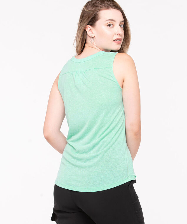 Sleeveless Henley Knit Top, Aqua, hi-res