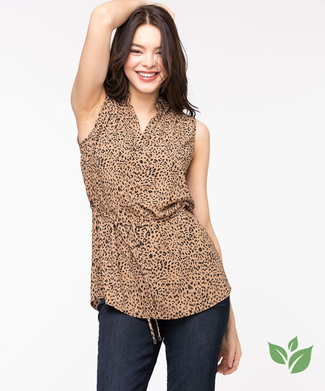 Eco-Friendly Sleeveless Tunic Blouse, Camel/Black