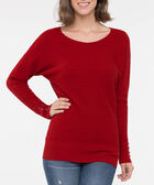 Lace Up Cuff Boatneck Sweater, Crimson, hi-res