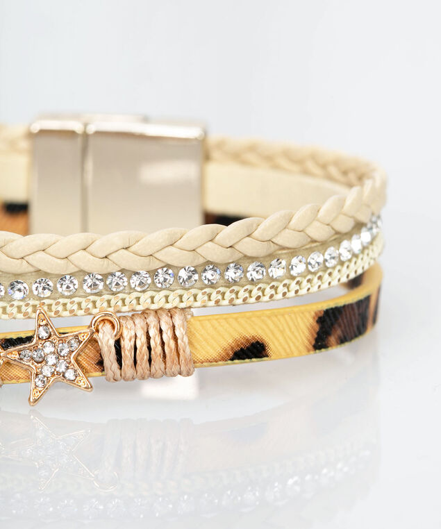 Star Crystal & Faux Leather Wrap Bracelet, Ivory/Brown/Gold, hi-res