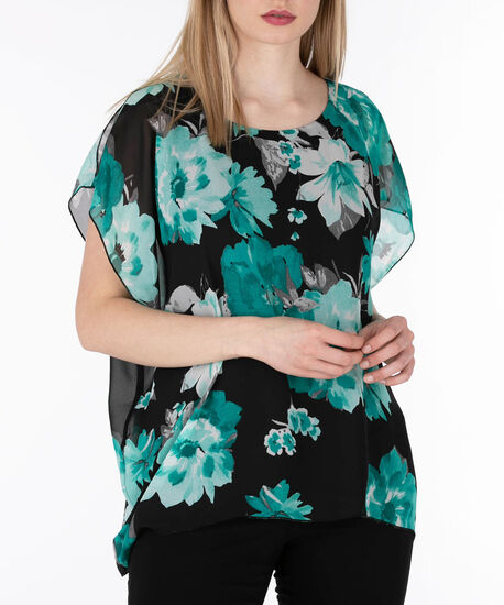 Cold Shoulder Cape Overlay Top, Black/Emerald, hi-res