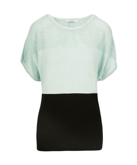 Pointelle Extended Sleeve Pullover, Cool Mint/Black, hi-res