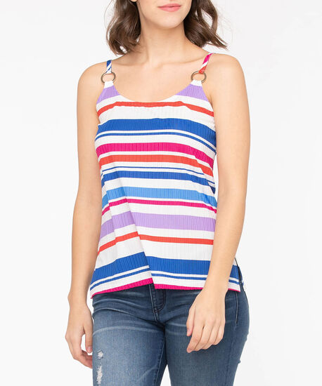 Sleeveless Ribbed Stripe Top, True White/Lavender/Cobalt/Orchid, hi-res