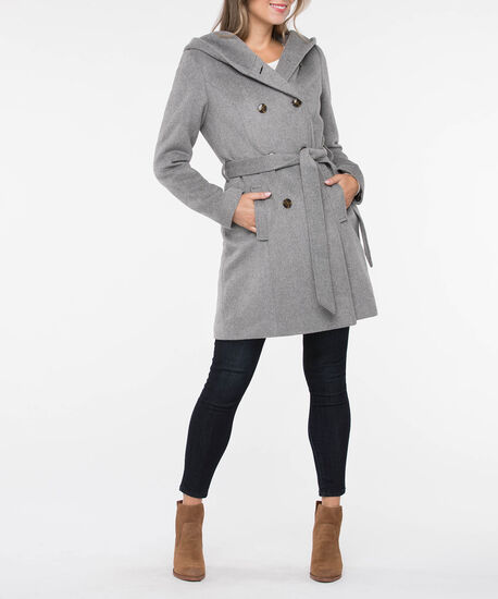 Hooded Double Breasted Belted Coat, Light Heather Grey, hi-res
