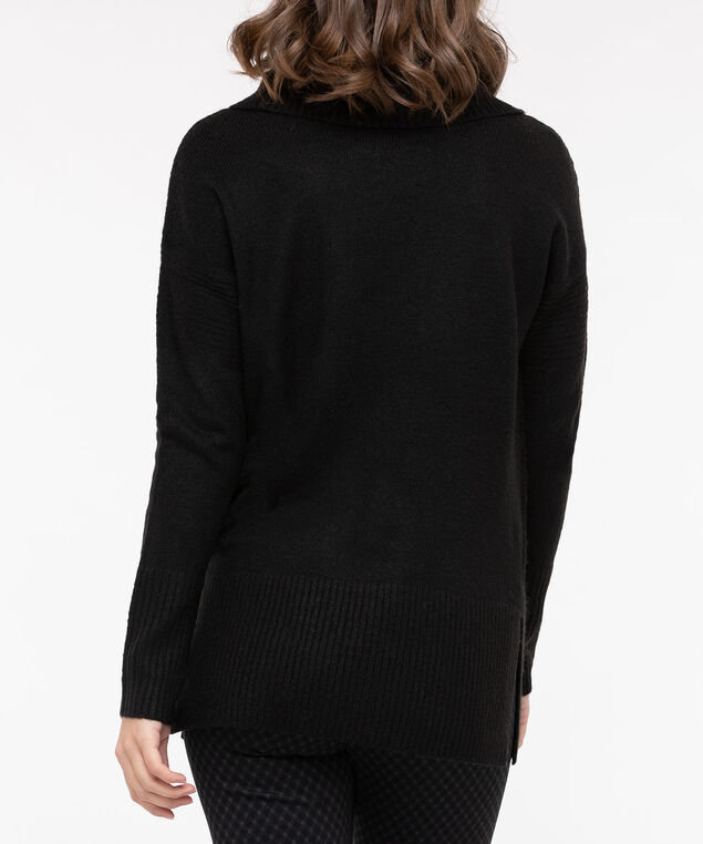 Ribbed Cowl Neck Sweater, Black, hi-res