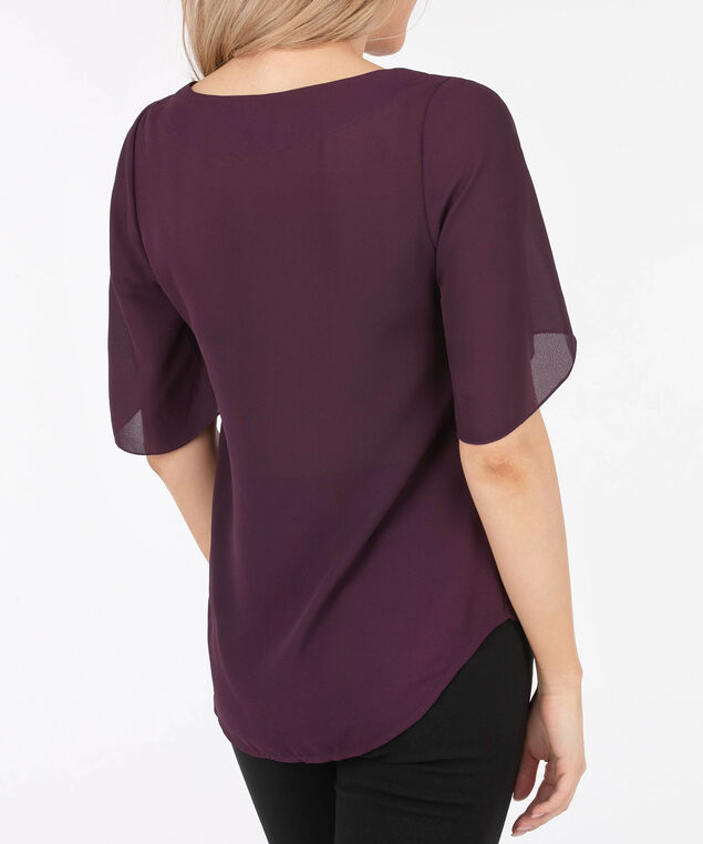 Scoop Neck 3/4 Sleeve Blouse, Plum, hi-res