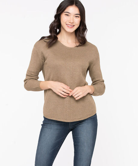 Ribbed Scoop Neck Sweater, Taupe Grey, hi-res
